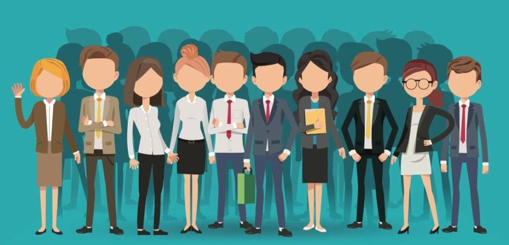 Ilustracion de equipo de profesionistas con equidad de género que da oportunidad a mujeres de ser líderes