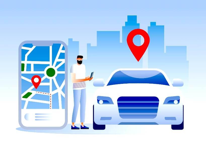 Ilustracion de un hombre, un carro y un movil gigante con la pantalla de una app de transporte