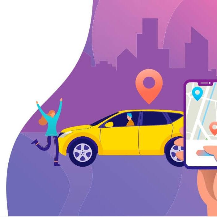 Ilustracion de una mujer enfrente de un taxi y un mano sujetando un celular con una aplicacion de transporte