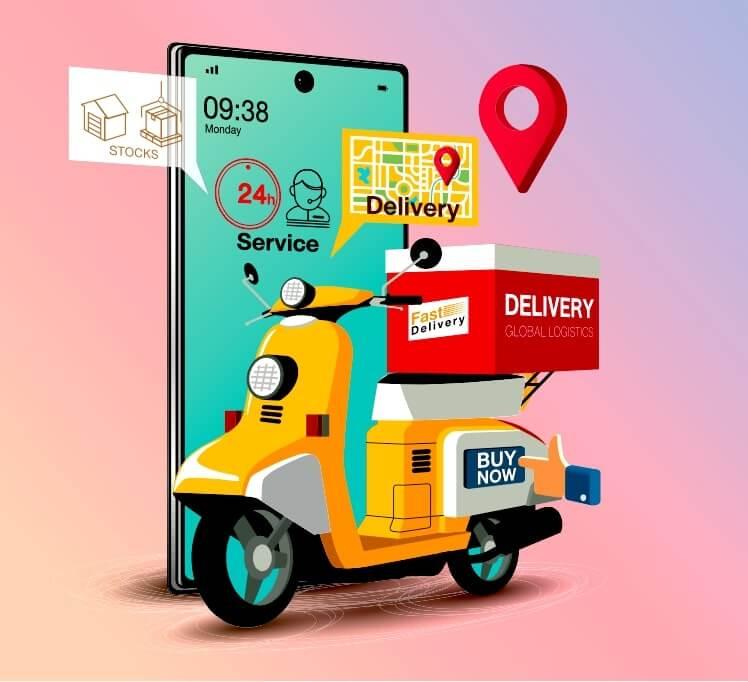 Concepto de un scooter entregando comida y viveres enfrente de un celular con la pantalla de una plataforma de pedidos en línea