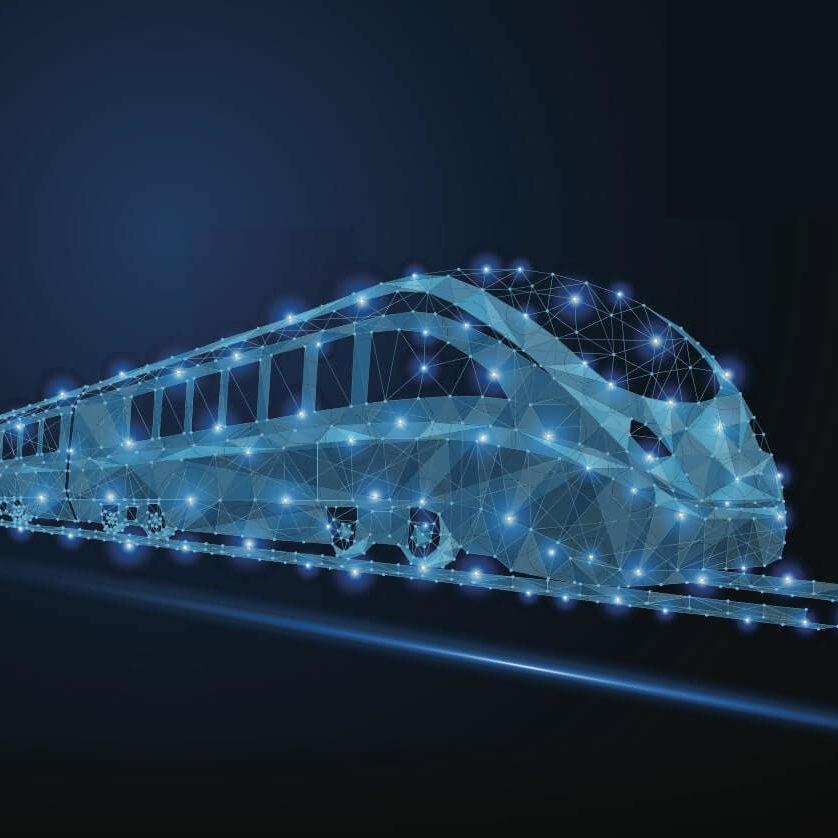 Ilustracion de un tren ligero futurista