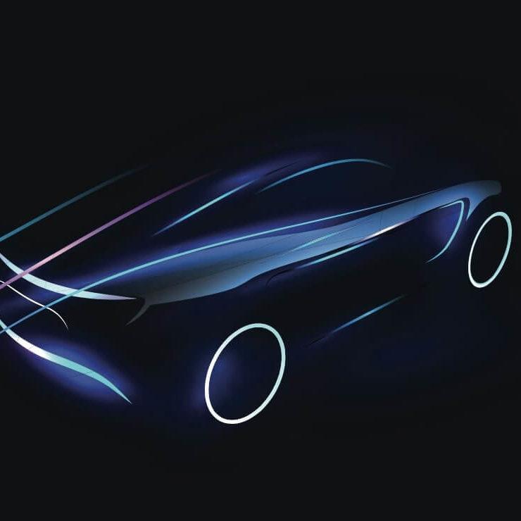 Ilustracion de un vehiculo electrico futurista dibujando en colores neon