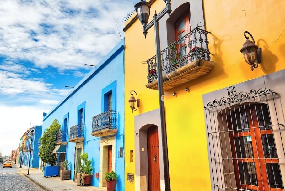 Casas coloridas en Oaxaca
