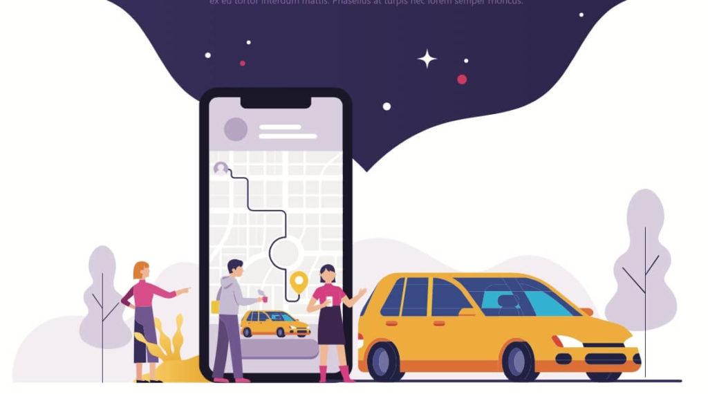 Concepto de 2 personas pidiendo un taxi usando una app de transporte.