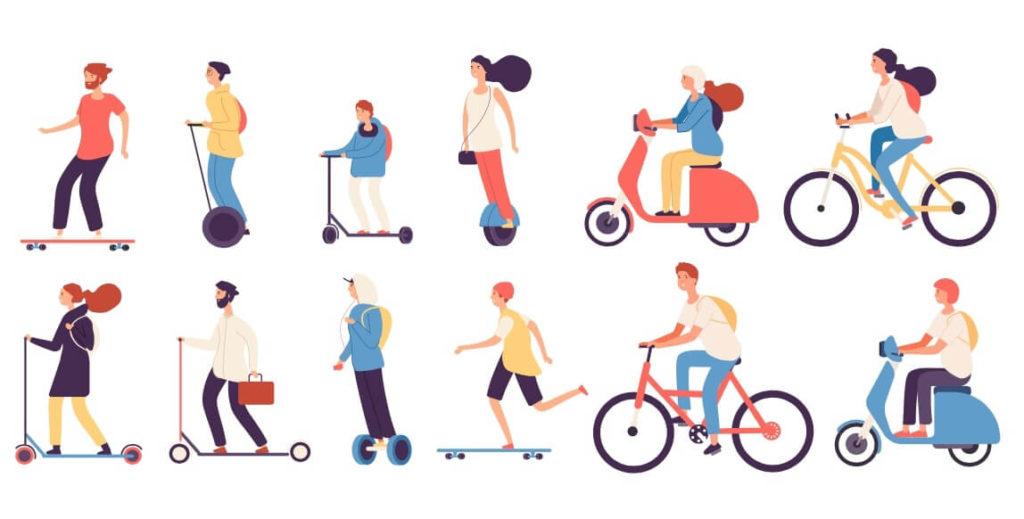 Ilustracion de varios tipos de vehiculos ligeros, como bicicletas y patines electricos