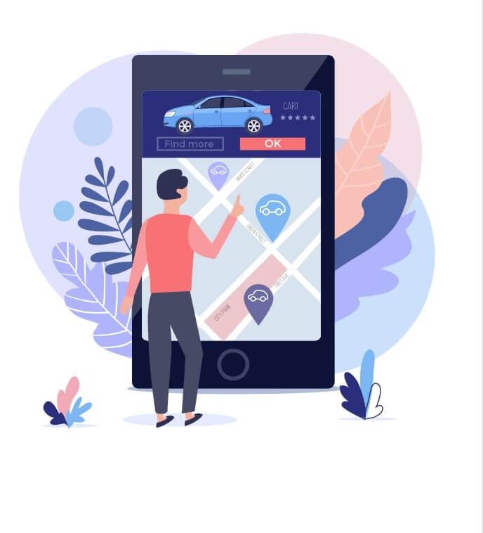 Ejemplo de movilidad como servicio, un hombre usando una app de transporte