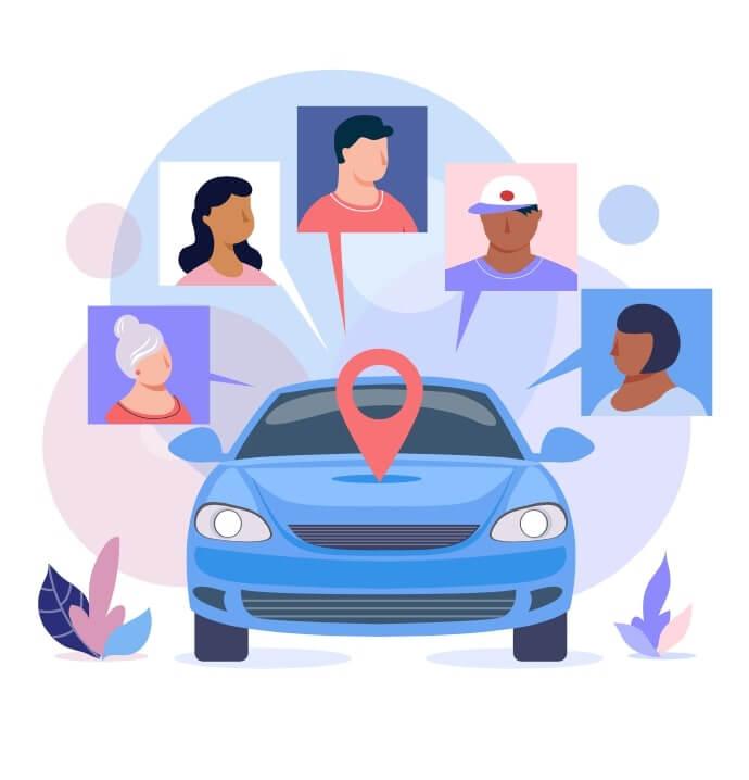 Conceptualizacion de personas compartiendo un auto