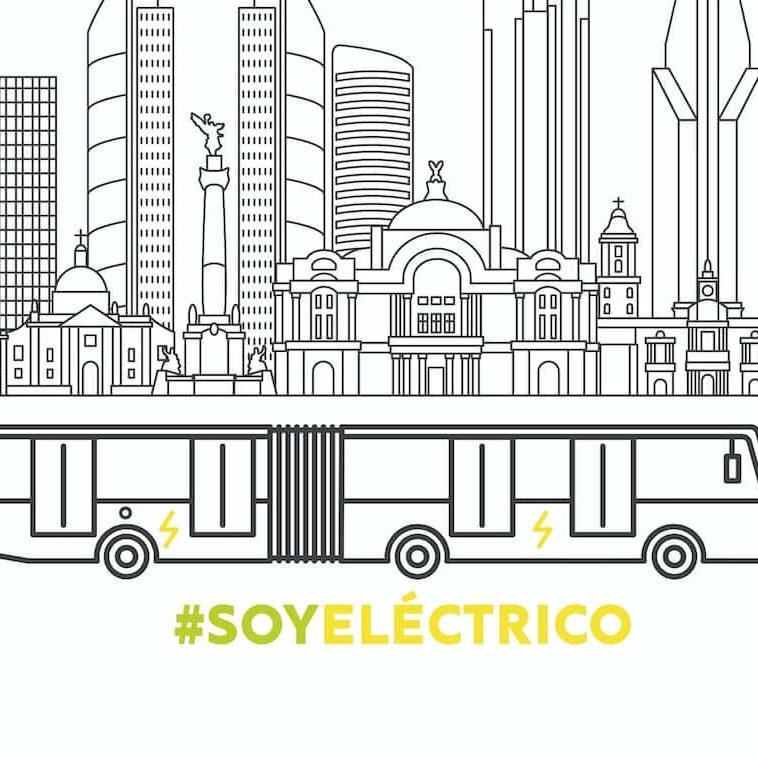 Ilustracion del nuevo autobus electrico de Metrobus con el fondo de la CDMX y el hashtag soy electrico
